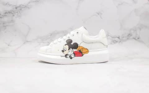 亚历山大Alexander McQueen sole sneakers纯原版本麦昆厚底小白鞋米老鼠配色原盒配件进口头层牛皮材质