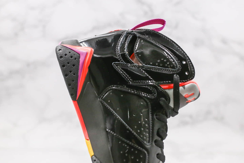 乔丹Air Jordan 7纯原版本高帮AJ7漆皮黑红配色原盒原标原档案数据开发区别市面通货版本 货号:313358-006