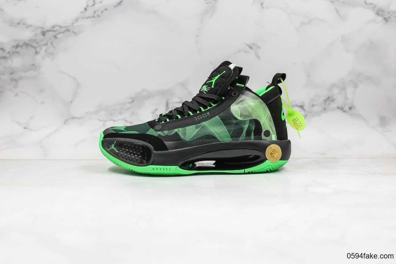 乔丹Air Jordan 34公司级版本实战篮球鞋AJ34黑绿配色官方原盒带气垫 货号:BQ3381-300