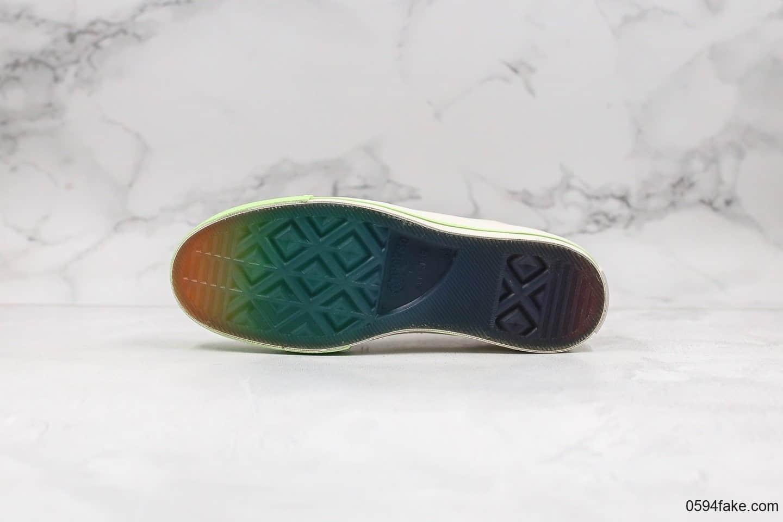 匡威Converse x Pigalle公司级版本联名款走秀七色围条米白彩虹底正确硅蓝PU中底