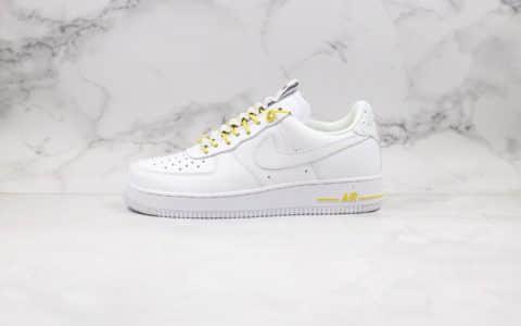 """耐克Nike Air Force 1 Lux""""White"""" WMNS公司级版本抽绳解构白黄配色全鞋定制头层皮 货号:898889-104"""