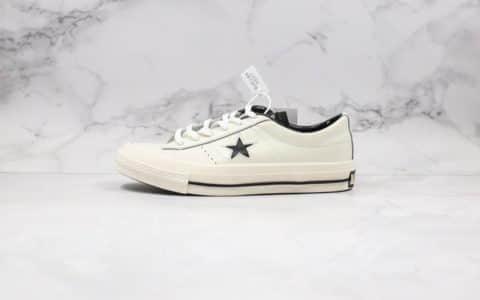 匡威Converse One Star Suede公司级版本杰克一星系列皮面低帮板鞋米白色原装硫化蓝底