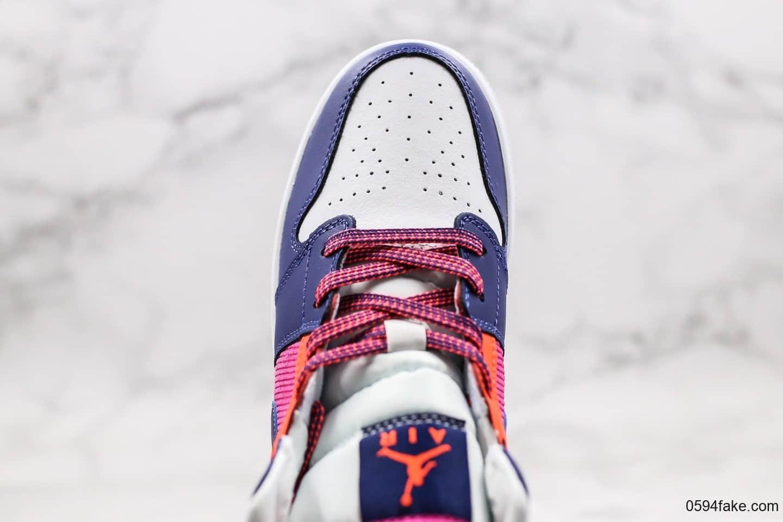 耐克Nike air Jordan 1 mid Fire pink纯原版本中帮AJ1粉紫蓝色原楦头原纸板打造原档案数据开发 货号:555112-602