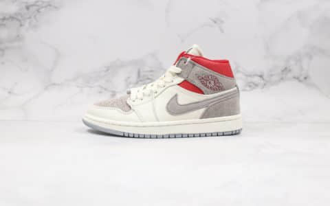 乔丹Air Jordan 1 Mid x Sneakersnstuff纯原版本联名款中帮AJ1小兔八哥米白麂皮红原档案数据开发正确飞翼LOGO 货号:CT3443-100