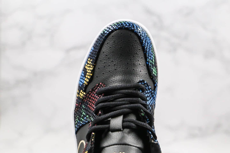 乔丹Air Jordan 1 Low BHM「Muiti-Colored Snakeskin」纯原版本低帮AJ1黑人月蛇鳞设计烫金飞翼多彩蛇纹皮革原鞋开模一比一打造 货号:CW5580-001