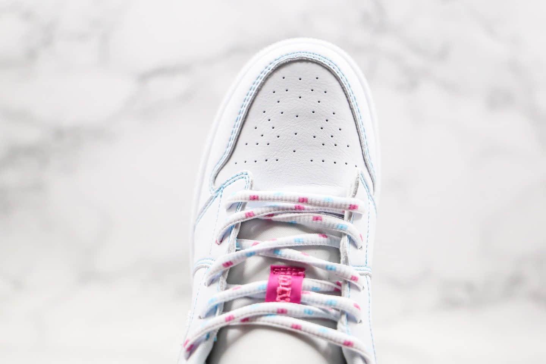 乔丹Air Jordan 1 Low纯原版本低帮AJ1红蓝描边白粉色白桃红糖果色内置气垫正确鞋面材质 货号:554723-101