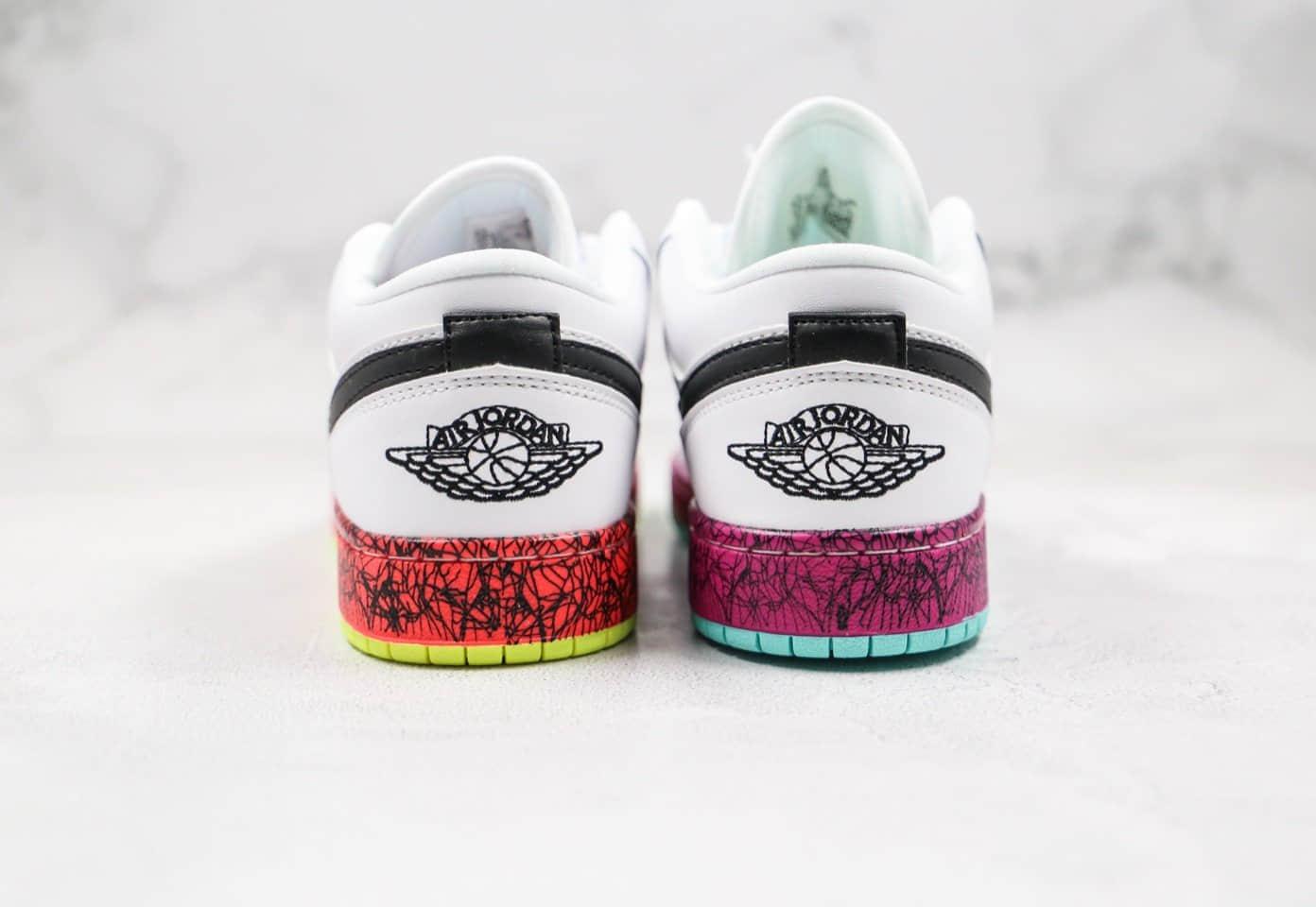 乔丹Nike Air Jordan 1 Low纯原版本低帮AJ1紫红鸳鸯白黑黄色内置气垫原档案数据开发 货号:CV9548-100