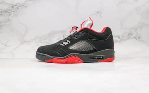 乔丹Air Jordan 5 Low Alternate 90纯原版本低帮AJ5公牛队黑红色内置气垫原厂鞋面材质 货号:819171-001