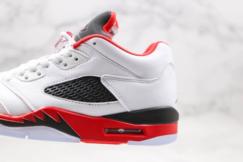 乔丹Air Jordan 5 Low纯原版本低帮AJ5火焰红白红色鲨鱼内置气垫原盒配件正确鞋面材质 货号:314338-181