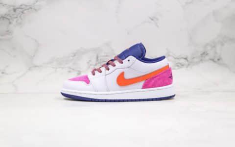 乔丹Air Jordan 1 Low GS Pink Corduroy纯原版本低帮AJ1白粉橙紫色拼接灯芯绒女神配色内置气垫原楦头纸板打造 货号:554723-502