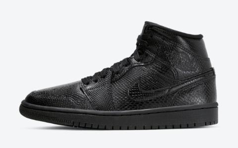 """狂野蛇纹鞋身!AJ1 Mid""""黑蛇""""现已发售! 货号:BQ6472-010"""