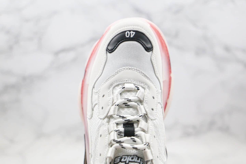 巴黎世家Balenciaga Triple S纯原版本气垫鞋老爹鞋酒红白色内置真氮气大底原盒配件齐全