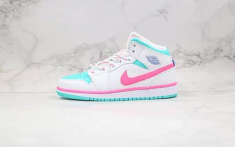 """乔丹Air Jordan 1 Mid GS """"Digital Pink""""纯原版本中帮AJ1新南海岸白蓝粉色原鞋开模内置气垫 货号:555112-102"""