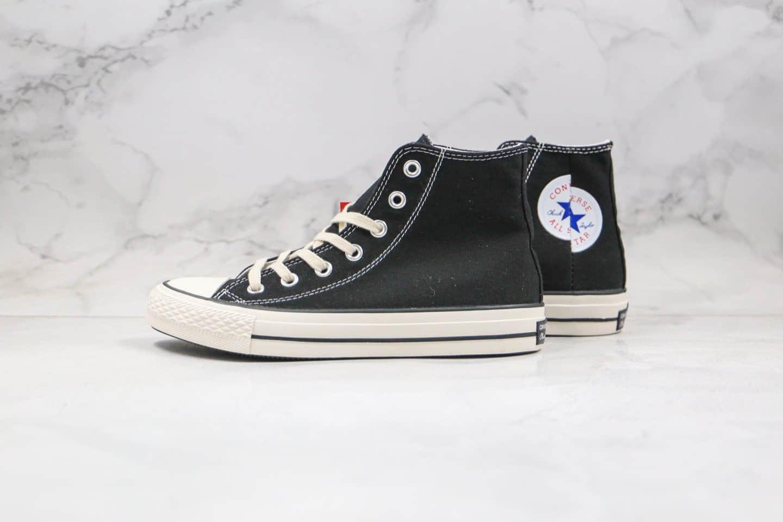 匡威Converse All Star 100周年限定款公司级版本分裂拼接标解析LOGO黑色高帮帆布鞋正确硅蓝PU软中底