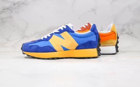 新百伦New Balance 327纯原版本复古慢跑鞋鸳鸯配色宝蓝色桔色黄色拼接原档案数据开发 货号:WS327LAA