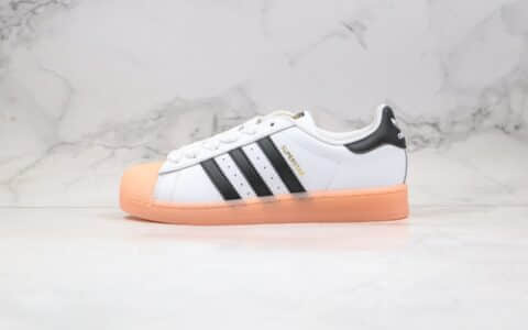 阿迪达斯adidas originals Superstar纯原版本金标贝壳头果冻底黑白粉色原楦头纸板打造 货号:FW3553