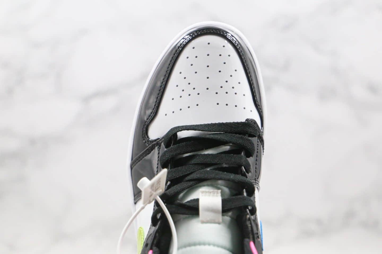 乔丹Air Jordan 1 Mid GS Patent Multi纯原版本中帮AJ1黑粉白糖果色鸳鸯钩正确后跟定型 货号:CZ9834-100