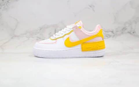 耐克Nike Air Force 1 Shadow纯原版本低帮空军一号马卡龙解构白黄粉色原档案数据开发 货号:CJ1641-102