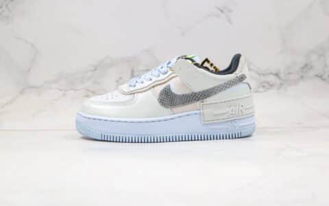耐克Nike WMNS Air Force 1 Shadow Tropical Twist纯原版本低帮空军一号马卡龙解构雾霾蓝色正确鞋面卡色 货号:CV3027-001