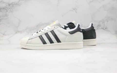阿迪达斯Adidas Superstar Originals纯原版本三叶草贝壳头五十周年黑白阴阳灰黑白色原盒原标原楦头纸板打造 货号:FV0323