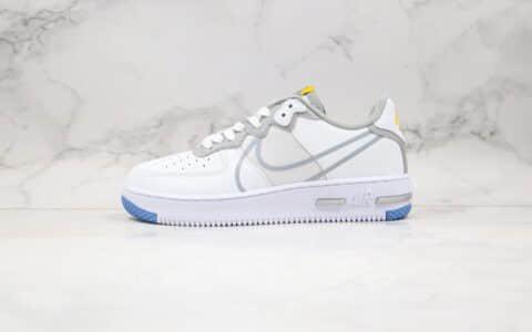 耐克Nike Air Force 1 React公司级版本低帮空军一号大勾解析涂鸦波纹白灰色原鞋开模打造 货号:CT1020-100