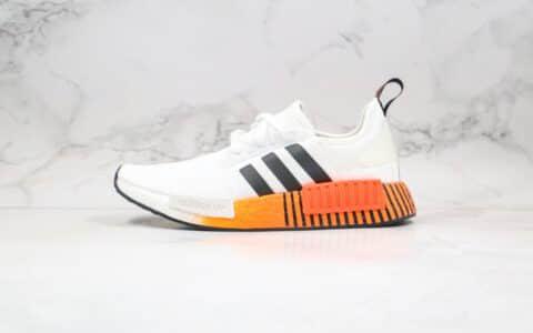 阿迪达斯Adidas Originals NMD_R1 White Black Sun Orange纯原版本三叶草NMD条纹落日橙渐变黑色内置真爆米花中底 货号:FW3648