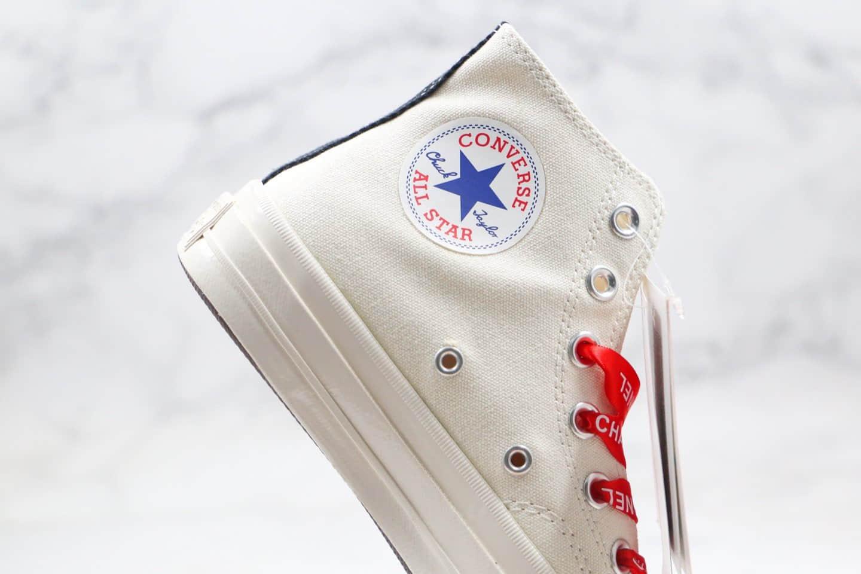 匡威Converse x CDG PLAY X CHANEL公司级版本香奈儿联名款川久保玲高帮帆布鞋原厂硫化大底正确香奈儿鞋带