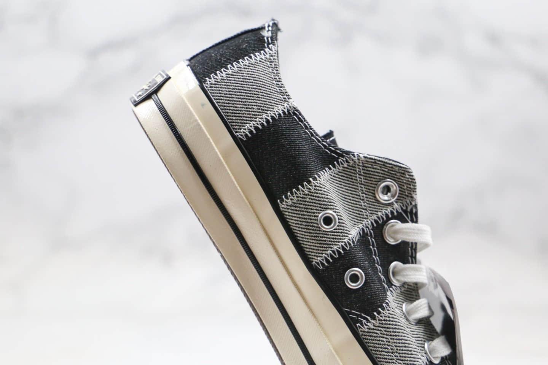 匡威Converse Chuck1970s公司级版本低帮五角星黑灰牛仔布格子拼接原厂硫化大底正确PU硅蓝软中底