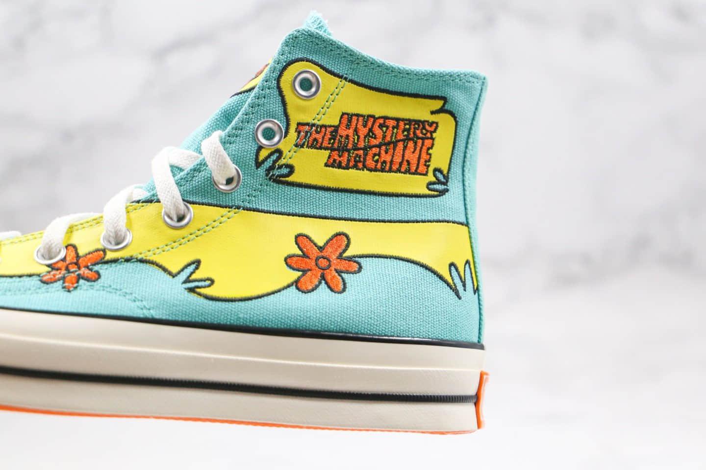 匡威Converse x Scooby-Doo Chuck 1970s公司级版本史酷比联名高帮帆布鞋蓝黄色原盒原吊牌 货号:169072C