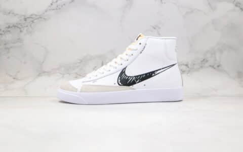 耐克Nike Blazer Mid VNTG 77纯原版本高帮开拓者二次元涂鸦黑勾板鞋白黑配色区别市面通货版本 货号:CW7580-101