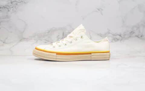 匡威Converse all star公司级版本低帮奶黄色米白黄橙线条帆布鞋原厂硫化大底原档案数据开发
