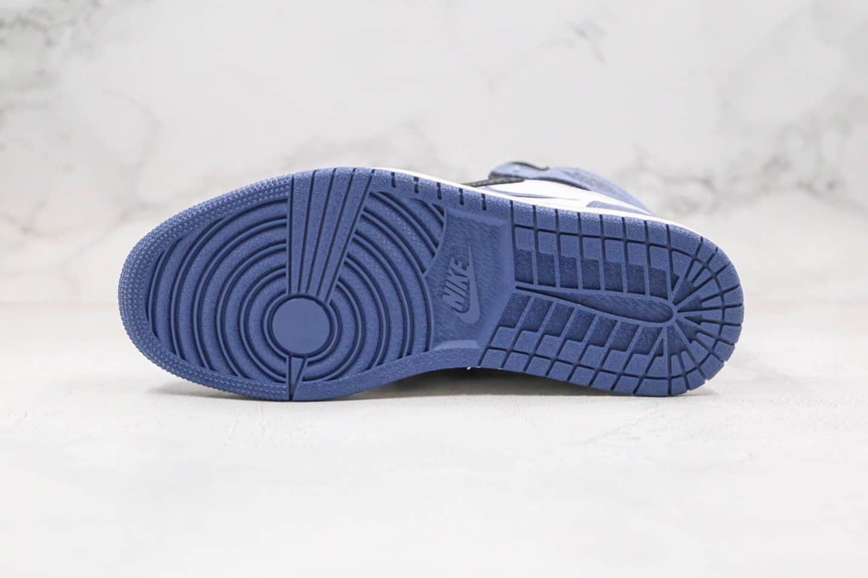 乔丹Air Jordan 1 High OG White Court Purple纯原版本高帮AJ1黑蓝色贪玩蓝月正确后跟定型原楦头纸板打造 货号:555088-115