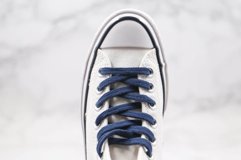 匡威Converse x Fragment Design x Sacai公司级版本三方联名款高帮白蓝色补丁铭牌缝线帆布鞋原厂硫化大底 货号:160329C