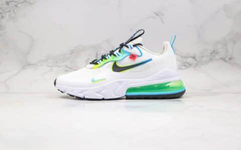 耐克Nike Air Max 270 React公司级版本半掌气垫跑鞋白绿色原鞋材质原标原盒 货号:CK6457-100