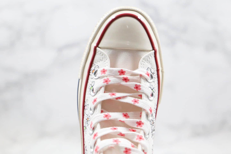 匡威CONVERSE Chuck 70S公司级版本高帮樱花花卉碎花小雏菊配色硫化帆布鞋正确双围条硫化蓝底