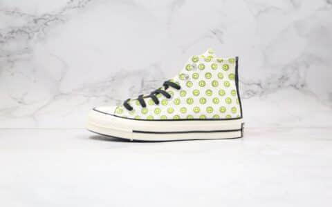 匡威Converse Chuck 70 Happy Camper公司级版本高帮帆布鞋黄绿笑脸印花原厂硫化蓝底 货号:167637C