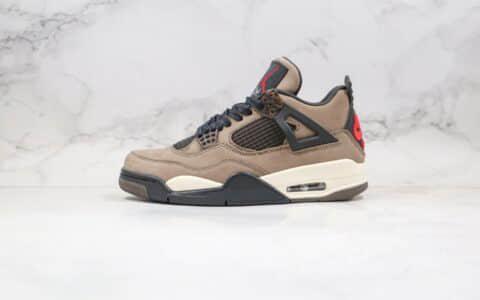 乔丹Air Jordan 4 Retro纯原版本高帮AJ4麂皮棕色篮球鞋原档案数据开发原鞋开模一比一打造