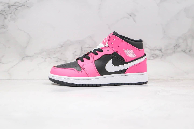乔丹Air Jordan 1 Mid Pinksicle (GS) 纯原版本中帮AJ1黑粉原鞋开模 货号:555112-002