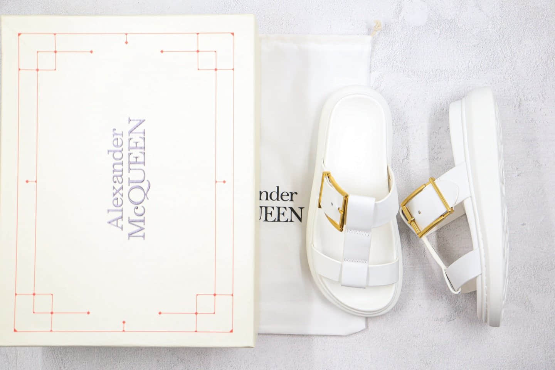 亚历山大Alexander McQueen纯原版本麦昆拖鞋凉鞋白色全套原版包装附赠硬质礼盒