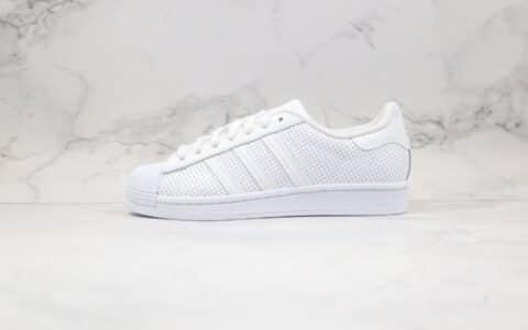 阿迪达斯adidas superstar w纯原版本三叶草贝壳头日本限定冲孔鞋纯白色原盒原标 货号:FV3445