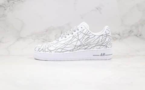 耐克Nike Air Force 1纯原版本低帮空军一号客制款白灰色3M反光满天星配色原盒原标 货号:N-0299