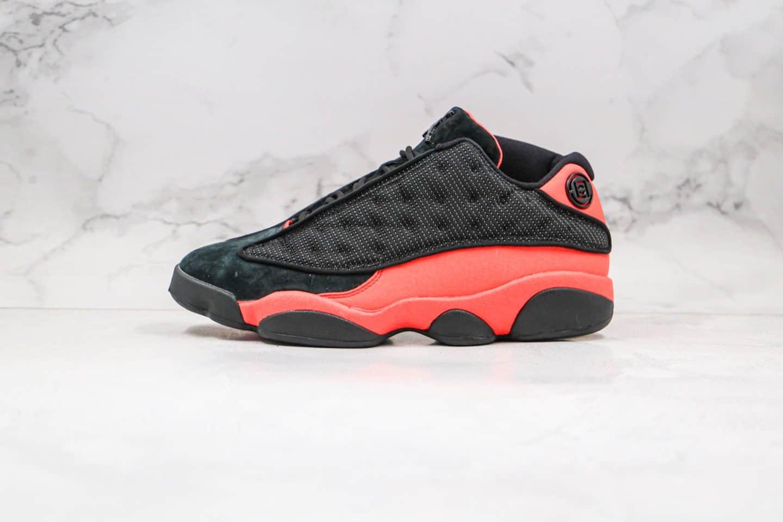 """乔丹CLOT x Air Jordan 13 Low """"Black and red""""纯原版本陈冠希亲友限定低帮AJ13黑红色真碳原厂皮料 货号:AT3102-006"""