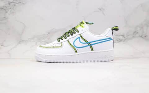 耐克Nike Air Force 1'07 Low World Wide纯原版本低帮空军一号字母弹幕花纹刺绣钩白绿蓝色内置气垫 货号:CK7213-100