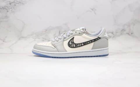 乔丹Air Jordan 1 x Dior纯原版本迪奥联名款低帮AJ1白灰色原厂吸磁鞋盒原档案数据开发 货号:CN8608-002