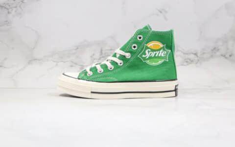 匡威Converse x Sprite公司级版本雪碧汽水联名款高帮绿色帆布鞋正确双围条PU硅蓝软中底 货号:188603C