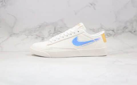 耐克Nike Blazer Low公司级版本低帮开拓者帆布板鞋上海城市限定米白镭射原纸板开发 货号:AV9371-109