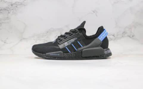 阿迪达斯adidas NMD R1 Boost V2公司级版本针织跑鞋黑蓝色原装进口Boost原料 货号:FY1483