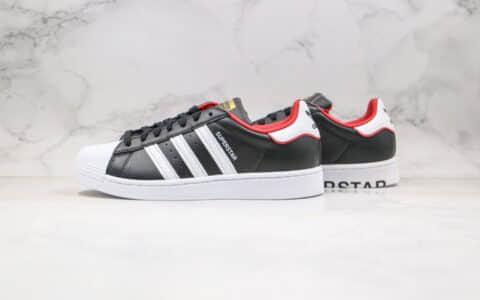 阿迪达斯Adidas Superstar纯原版本三叶草贝壳头板鞋刺绣卡通图案黑红色原盒原标 货号:FW6385
