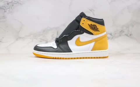 乔丹Air Jordan 1 Retro High OG Yellow Ochre纯原版本高帮AJ1黑黄脚趾正确后跟定型原厂皮料 货号:555088-109