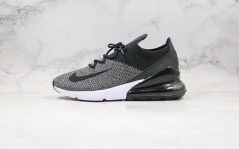 耐克Nike Air Max 270 Flyknit公司级版本半掌气垫跑鞋黑灰色区别市面通货 货号:AO1023-001